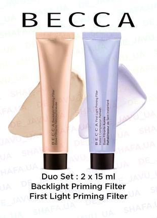 Набор праймеров becca priming filter - backlight и first light - 2x15 мл - база под макияж