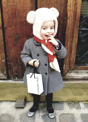 Мимишная/зимняя шапка/ушанка на флисе с ушками мишка тедди teddy bear nutmag 3/6лет.