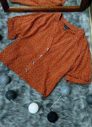 Свободная блуза кофточка из натуральной вискозы в горох new look