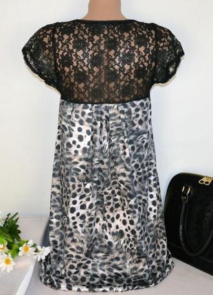 Брендовое леопардовое кружевное вечернее нарядное короткое мини платье туника select2 фото