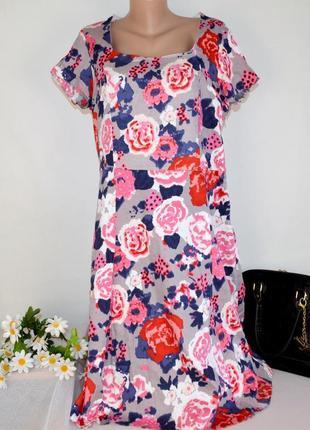 Брендовое коттоновое нарядное макси платье nightingales шри ланка принт цветы