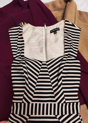 Платье в полоску бежевое чёрное на подкладке классическое деловое с карманами warehouse2 фото