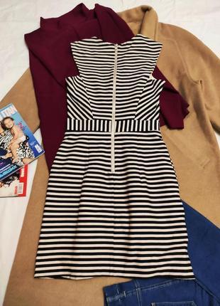 Платье в полоску бежевое чёрное на подкладке классическое деловое с карманами warehouse4 фото