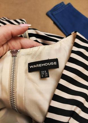 Платье в полоску бежевое чёрное на подкладке классическое деловое с карманами warehouse7 фото
