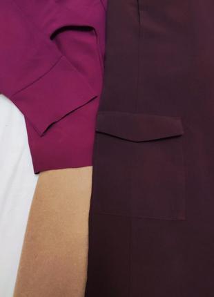 Бордовое бордо марсала классическое прямое платье на подкладке с карманами f&f2 фото