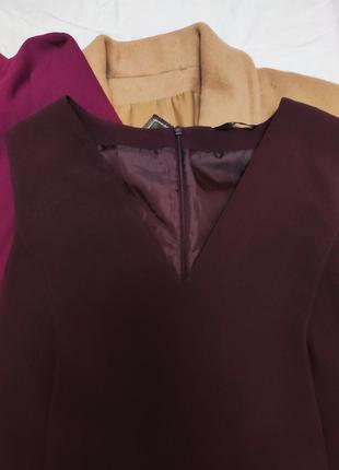 Бордовое бордо марсала классическое прямое платье на подкладке с карманами f&f3 фото