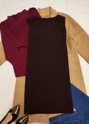 Бордовое бордо марсала классическое прямое платье на подкладке с карманами f&f5 фото