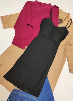 Warehouse чёрное платье в бельевом стиле комбидресс миди вечернее