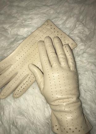 🌿кожаные перчатки с перфорацией нюдовые перчатки в дырочку