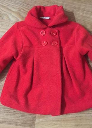 Пальто детское красное деми для девочки 2-3 года
