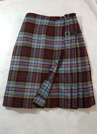 Шерстяная юбка плиссе на запах в  клетку шотландская шерсть 100%