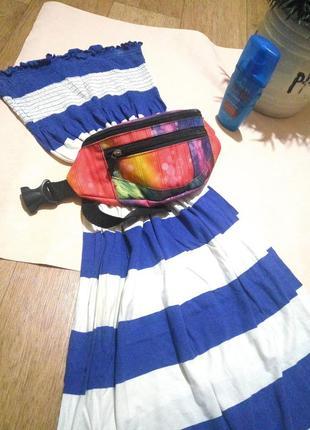 Летнее макси платье в полоску