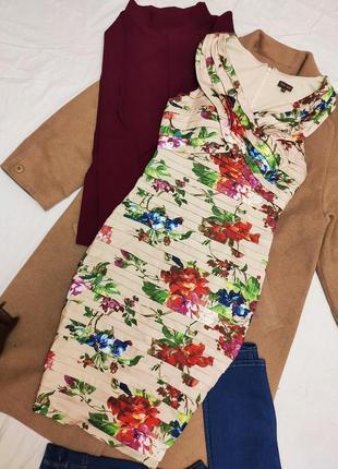 Платье футляр карандаш миди бандажное многослойное цветочный принт вшит лиф