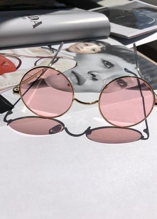 Круглые розовые имиджевые очки