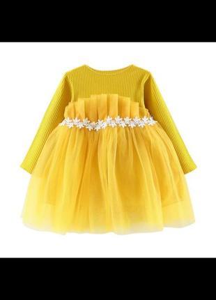 Платье на 2-3 года фатиновое нарядное праздничное хлопок с рукавом