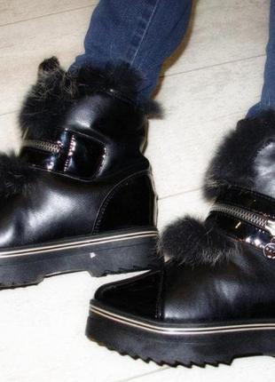 Зимние чёрные ботинки. опушка - натуральный мех