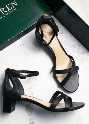 Ralph lauren оригинал черные кожаные босоножки на удобном каблуке