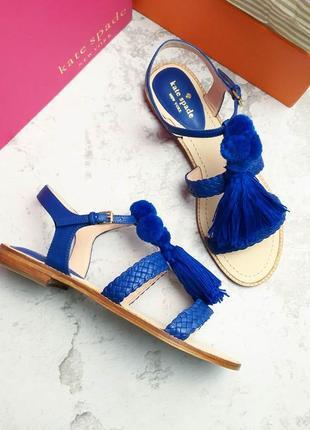 Kate spade new york оригинал шикарные ярко-синие замшевые босоножки сандалии
