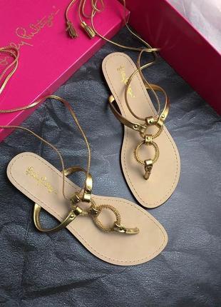 Lilly pulitzer оригинал дизайнерские кожаные сандалии на завязках