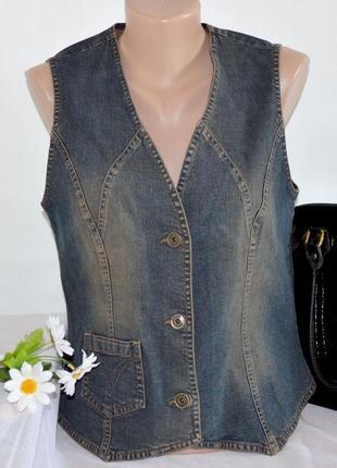 Брендовая джинсовая жилетка с карманом olsen коттон