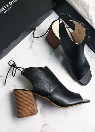 Kenneth cole ny оригинал черные кожаные босоножки на широком каблуке