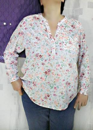 Нежная батистовая блузка, рубашка в цветочек, 100% хлопок