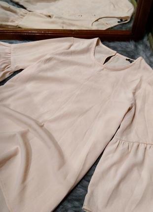 Блуза топ кофточка пастельного кремового оттенка с рукавами воланами pep&co2 фото