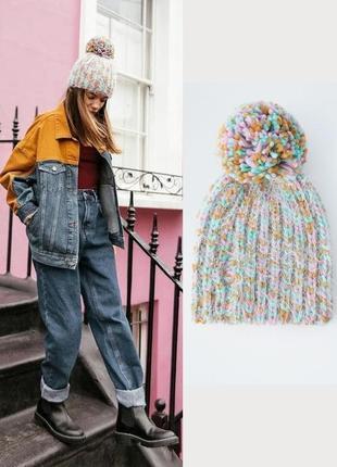 Разноцветная шапка с помпоном pull&bear