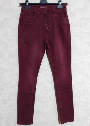 Необычные джинсы цвет бордо, бургунди, toxic, 28/m