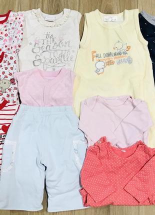 Пакет вещей комплект набор теплые человечки бодики штаны на девочку 0-3 месяца 56-62 см.