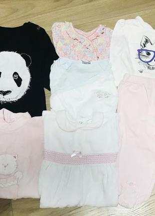 Набор пакет комплект вещей на девочку 3-6 месяцев человечки ромпер штаны бодик