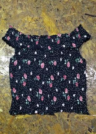 Блуза на резинке хлопок /  со спущенными плечами / открытые плечи топ  /кроптоп кроп
