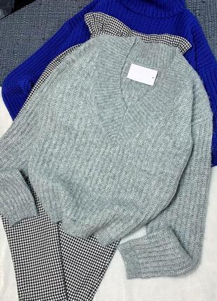 Новый серый свитер с шерстью
