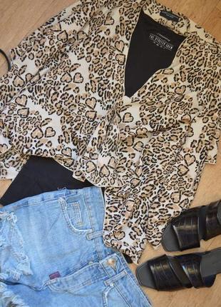 Стильная блуза накидка животного принта леопардовая водопад