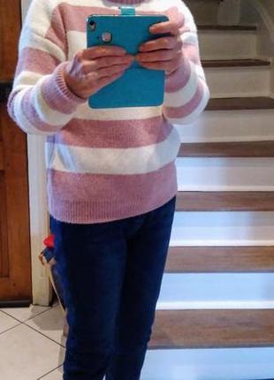 Женский свитер в широкую полоску5 фото