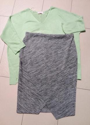 Плотная трикотажная меланжевая юбочка h&m