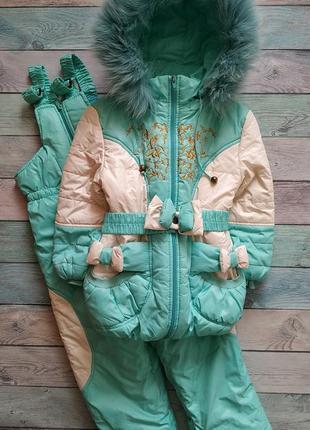 🍀 зимний раздельный комбинезон с натуральным мехом песца (куртка и полукомбинезон) 🍀
