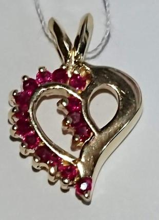 Золотой кулон сердце природный рубин золото 585 видео