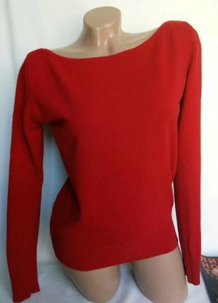 Джемпер красного цвета,100% шерсть, р. s, от united colors of benetton