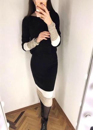 Теплий костюм спідничка-міді + кофтинка