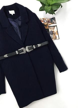 Пальто бойфренд темно-синего цвета papaya демисезон