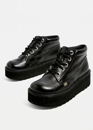 Оригинальные ботинки броги на массивной подошве натуральная кожа толстая подошва