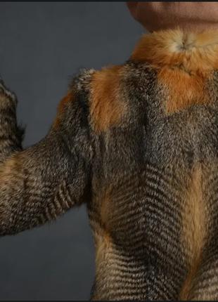 Шуба грей-фокс, полушубок лиса