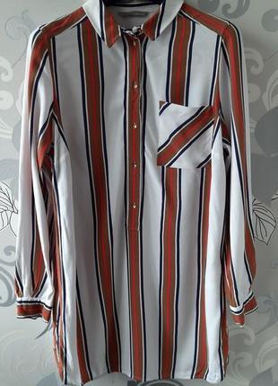 Белая полосатая удлиненная рубашка в полоску блуза блузка