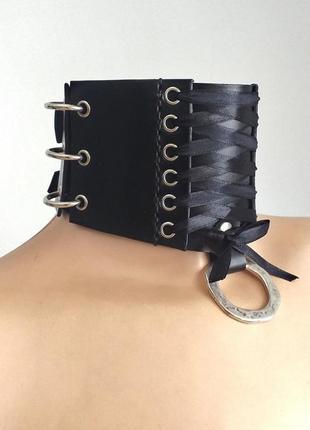 Чокер корсет. шейный корсет из плотной натуральной кожи со шнуровкой и кольцами