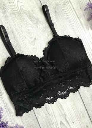 Шикарный черный кружевной браллет 😍 лиф кроп топ бралет бра