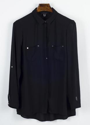 Классическая черная блузка, шифоновая блузка прозрачная, блуза черная