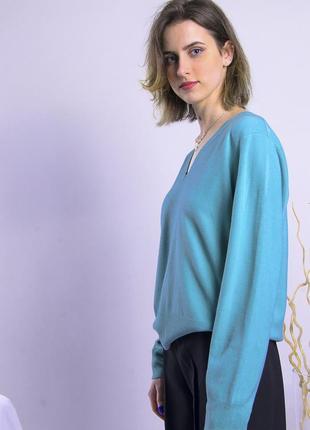 Бирюзовый свитер базовый, базовый пуловер, женский свитер оверсайз6 фото