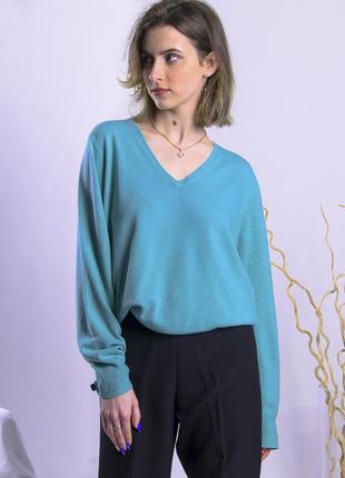 Бирюзовый свитер базовый, базовый пуловер, женский свитер оверсайз5 фото