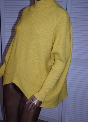 Женский желтый свитер джемпер с горлом, водолазка теплая кофта гольф
